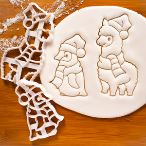 Set of 2 Christmas Animals cookie cutters (Designs: Alpaca and Baby Penguin)