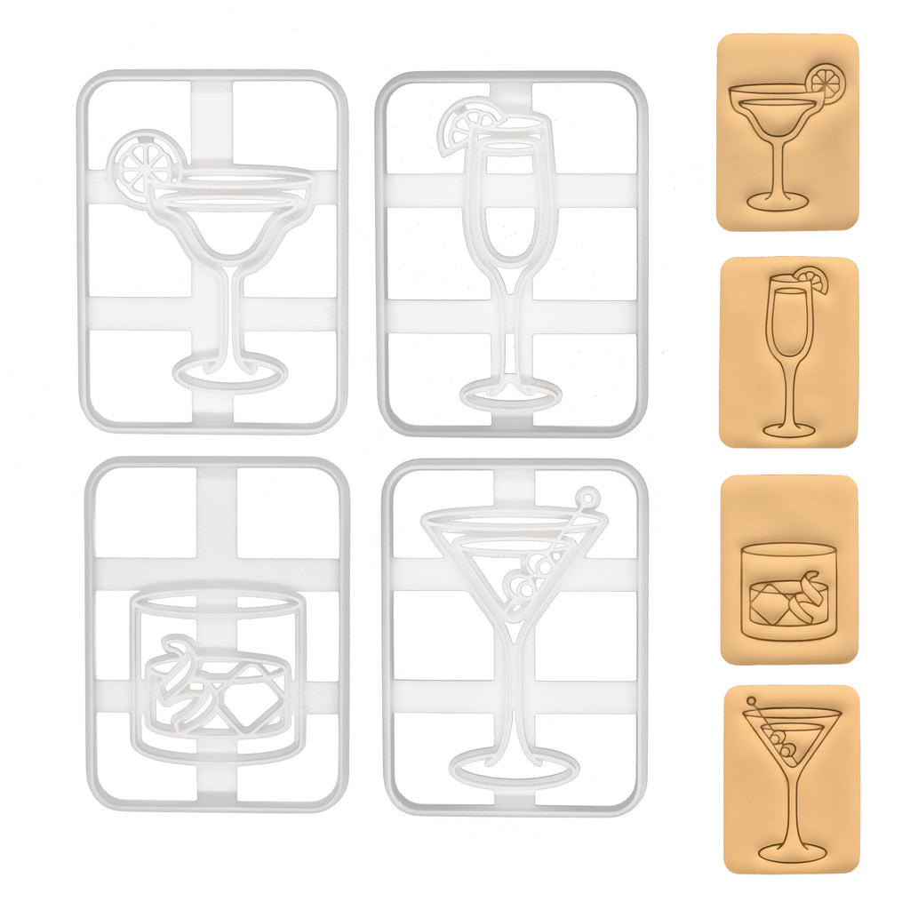 Set of 4 Cocktail Cookie Cutters - Margarita, Bellini, Old Fashioned, Martini