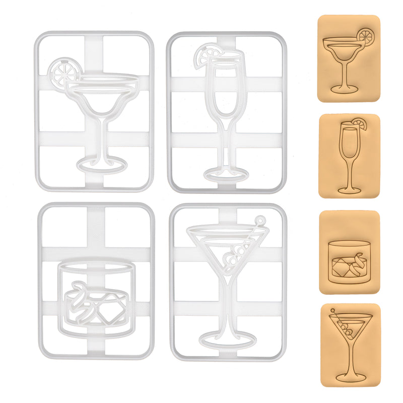 Margarita, Bellini, Martini and Old Fashioned cocktail cookie cutters