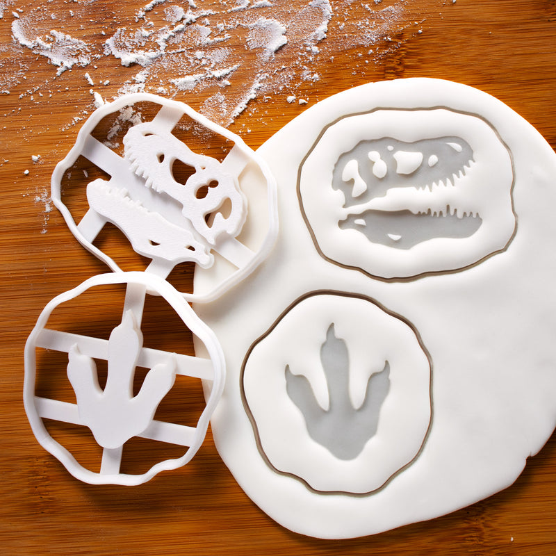 Set of 2 Tyrannosaurus Rex Footprints and Skull Fossil Cookie Cutters