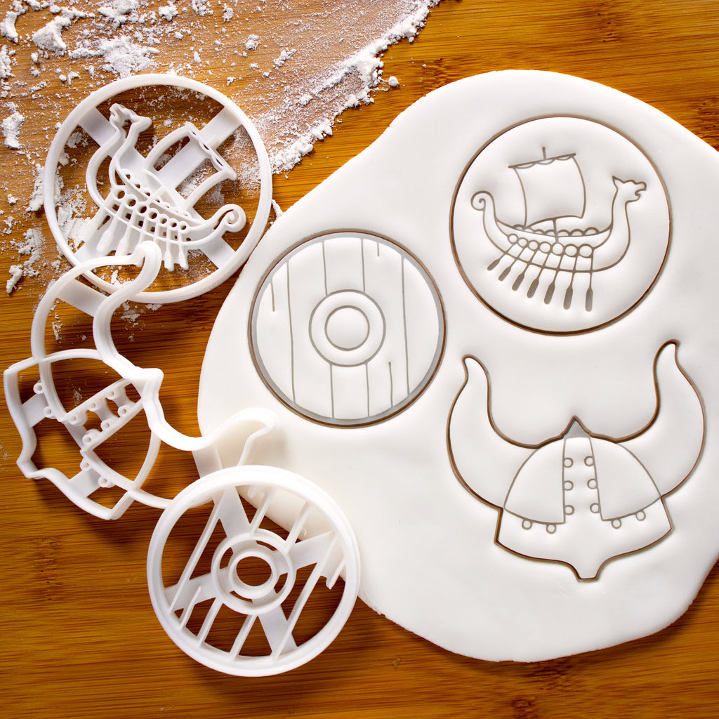 Set of 3 Viking theme Cookie Cutters: Viking Helmet, Viking Shield, and Viking Ship