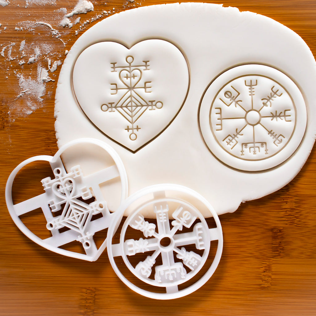 Set of 2 Icelandic Magical Stave Cookie Cutters (Love Charm & Runic Compass)