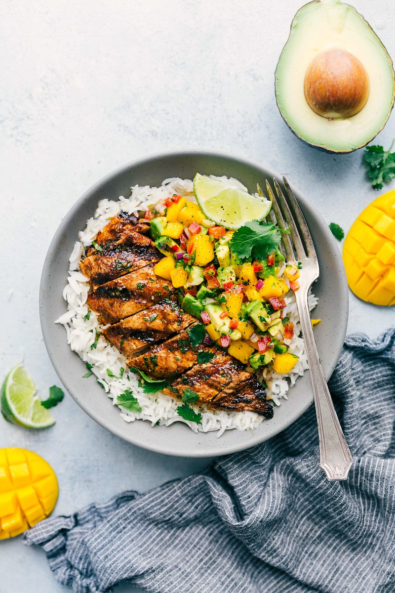 Tangy Cilantro Lime Chicken with Mango Avocado Dressing