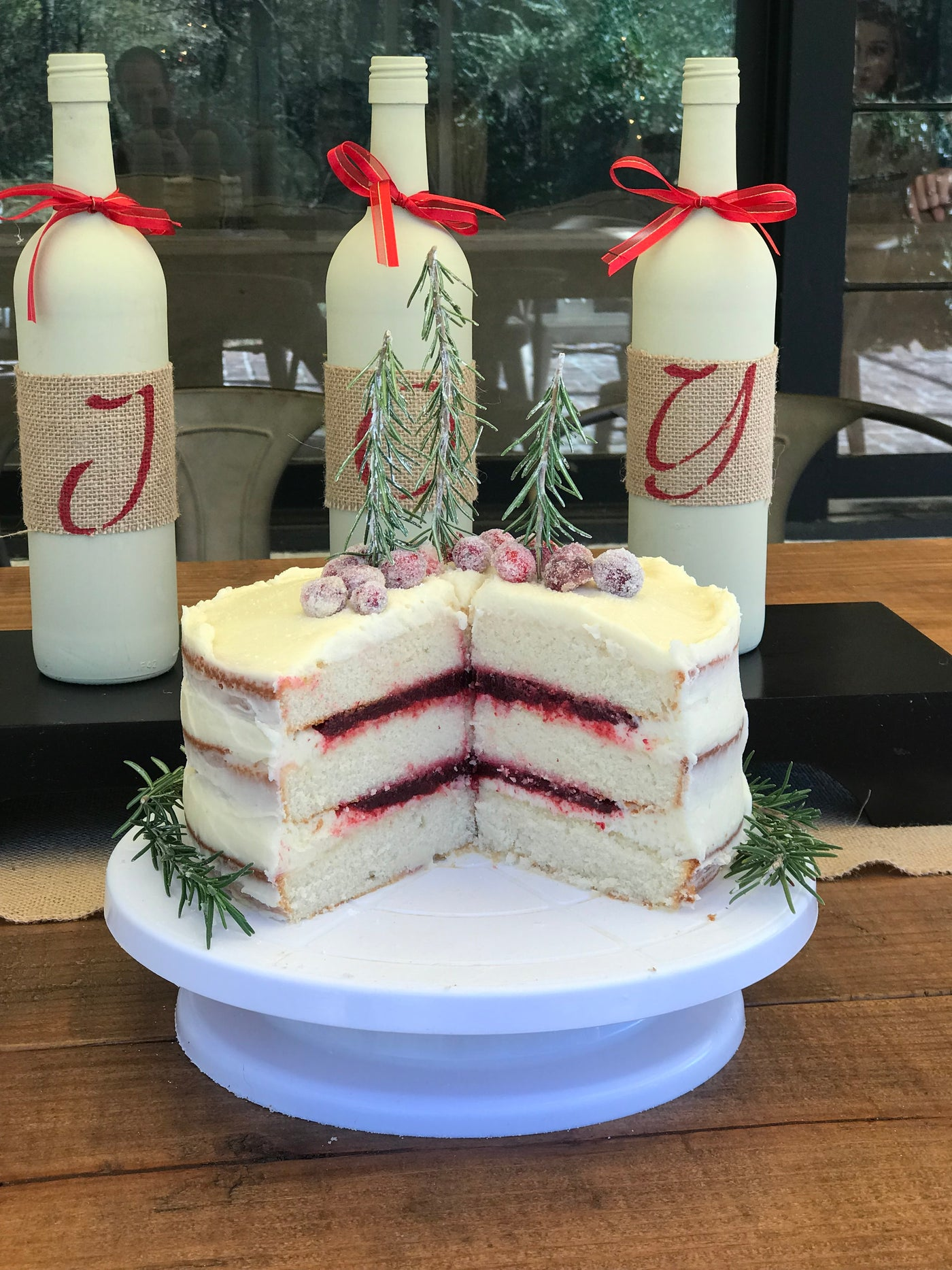 Cranberry Filled White Cake
