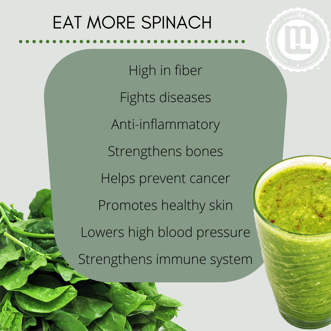 Health benefits of spinach infographic