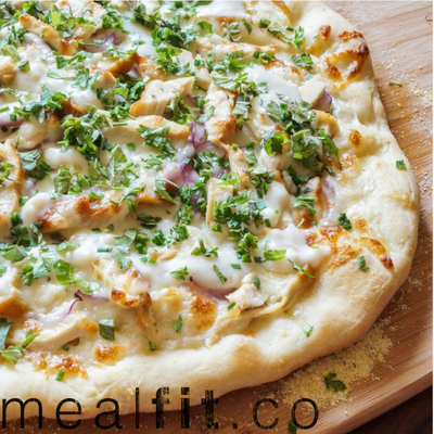 Chicken Pizza with a Creamy White Cheese Sauce