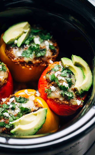 Quinoa Black Bean Crockpot Stuffed Peppers