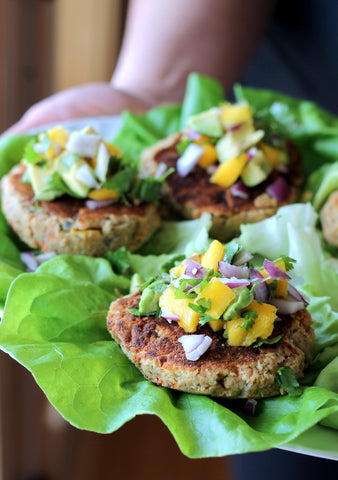 chickpea burger on lettuce