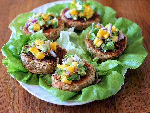 chickpea burgers served on lettuce