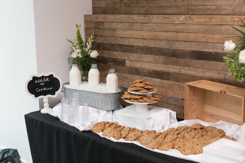Milk and cookies dessert table.