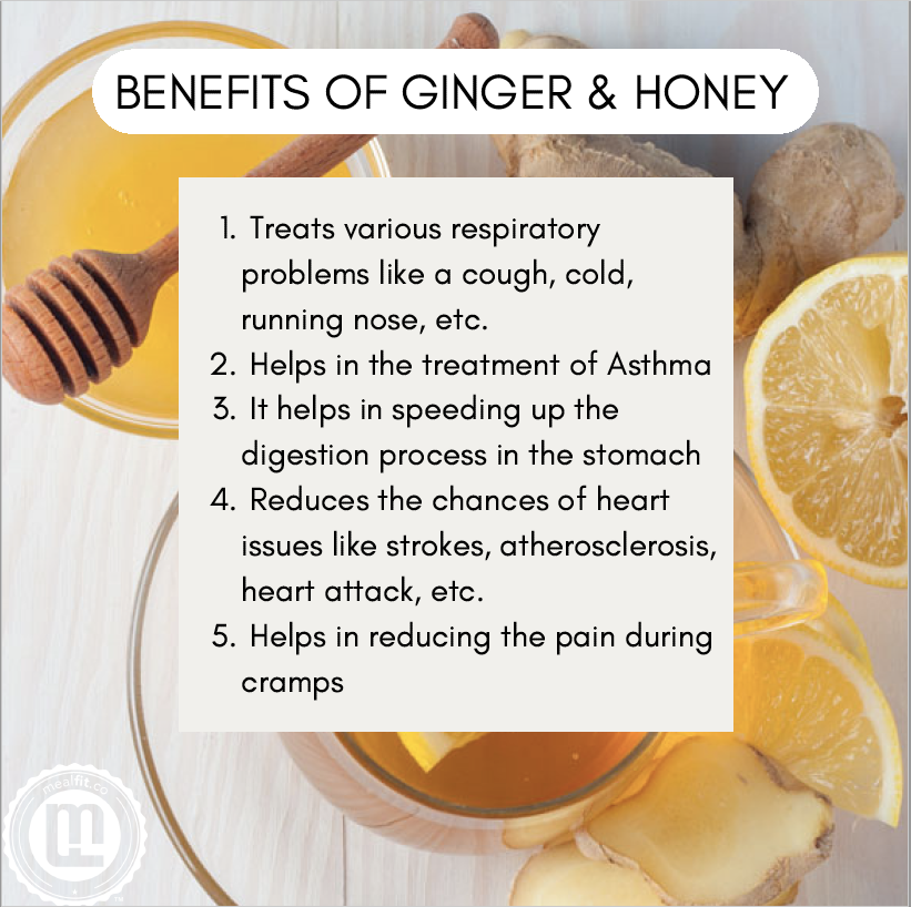 Benefits of ginger and honey infographic