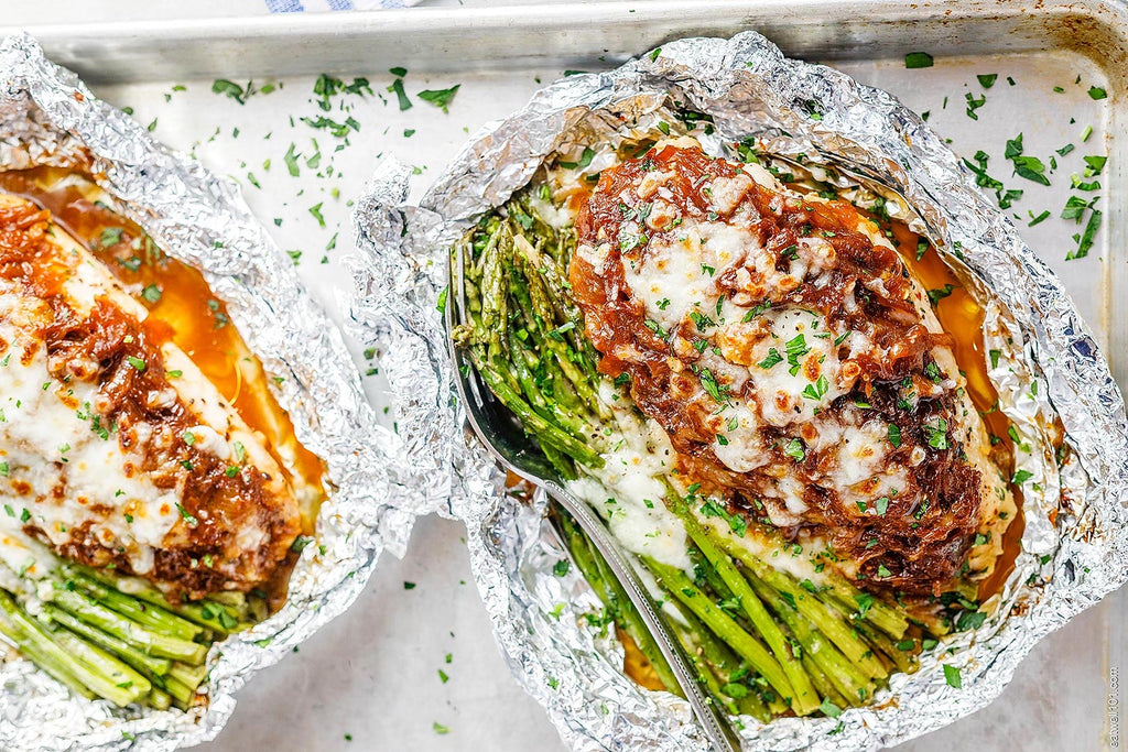 french onion chicken and asparagus foil packet meal