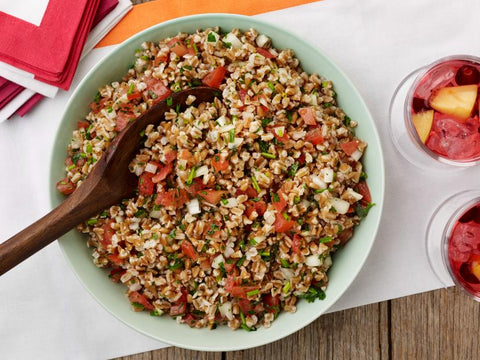 fresh farro salad with tomatoes and herbs