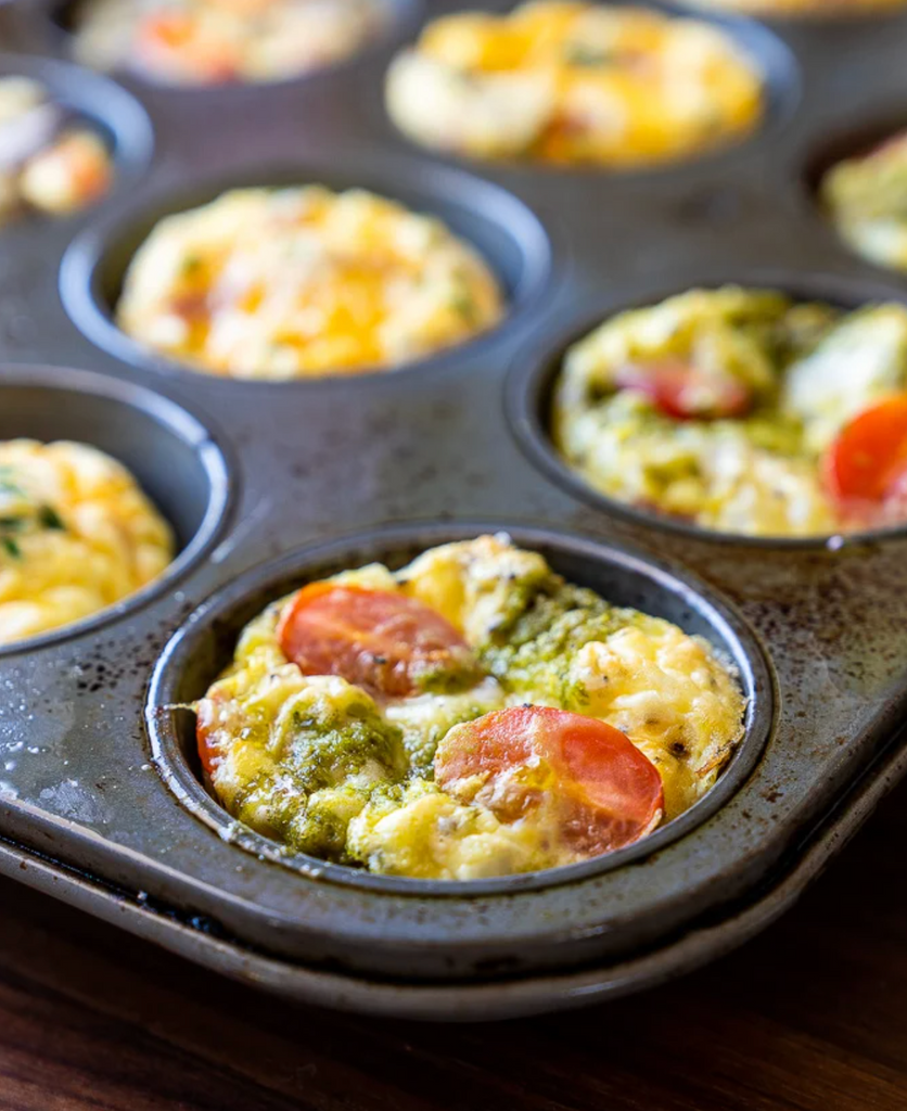 cooked healthy mini-frittata egg muffins