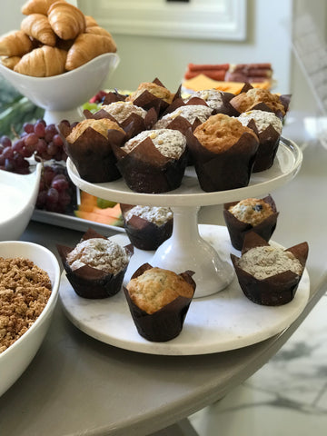 muffins on tiered platter.