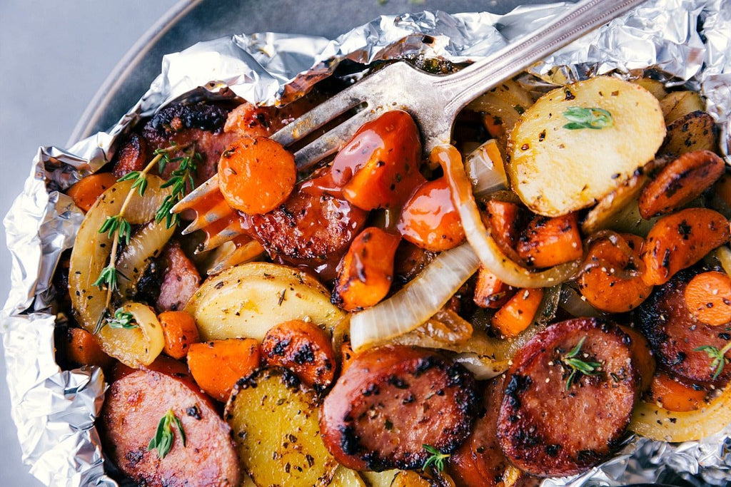classic sausage and veggies foil packet meal