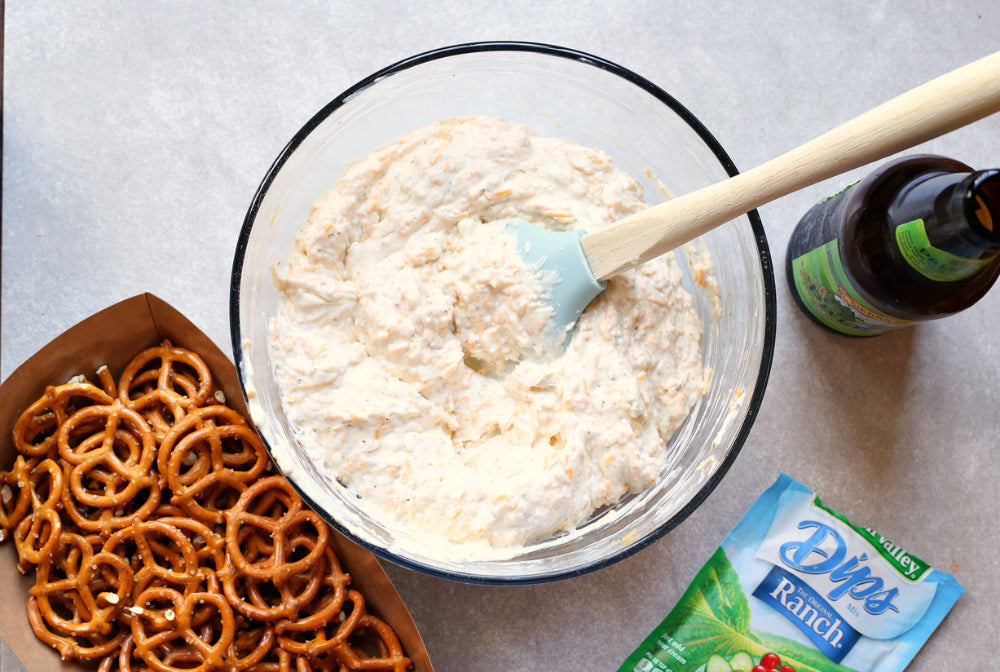 Beer Dip with Pretzels and Ranch Seasoning