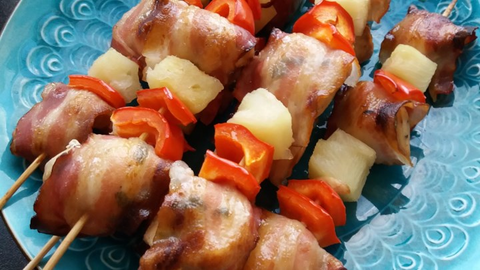 Grilled Chicken and Bacon Shish Kabob