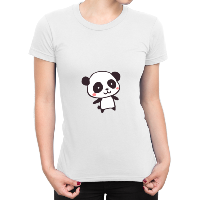 """Kawaii Panda"" Ladies Round Neck Tshirt"