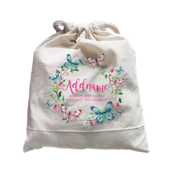 Colourful Butterflies Wreath Personalizable with Name and Text Satchel