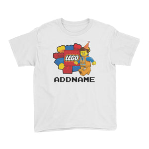 Lego Boy With Party Hat Addname Birthday Theme Kids T Shirt