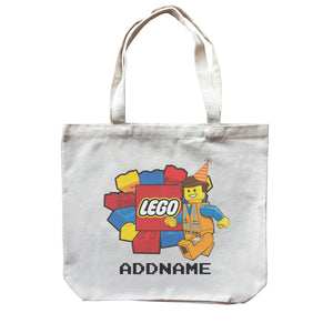 Lego Boy With Party Hat Addname Birthday Theme Canvas Bag
