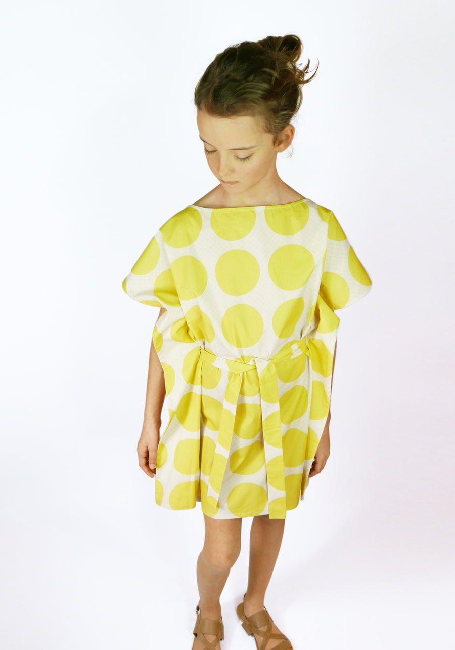 Miss L. Ray Dress Zoey yellow dots children and teen fashion