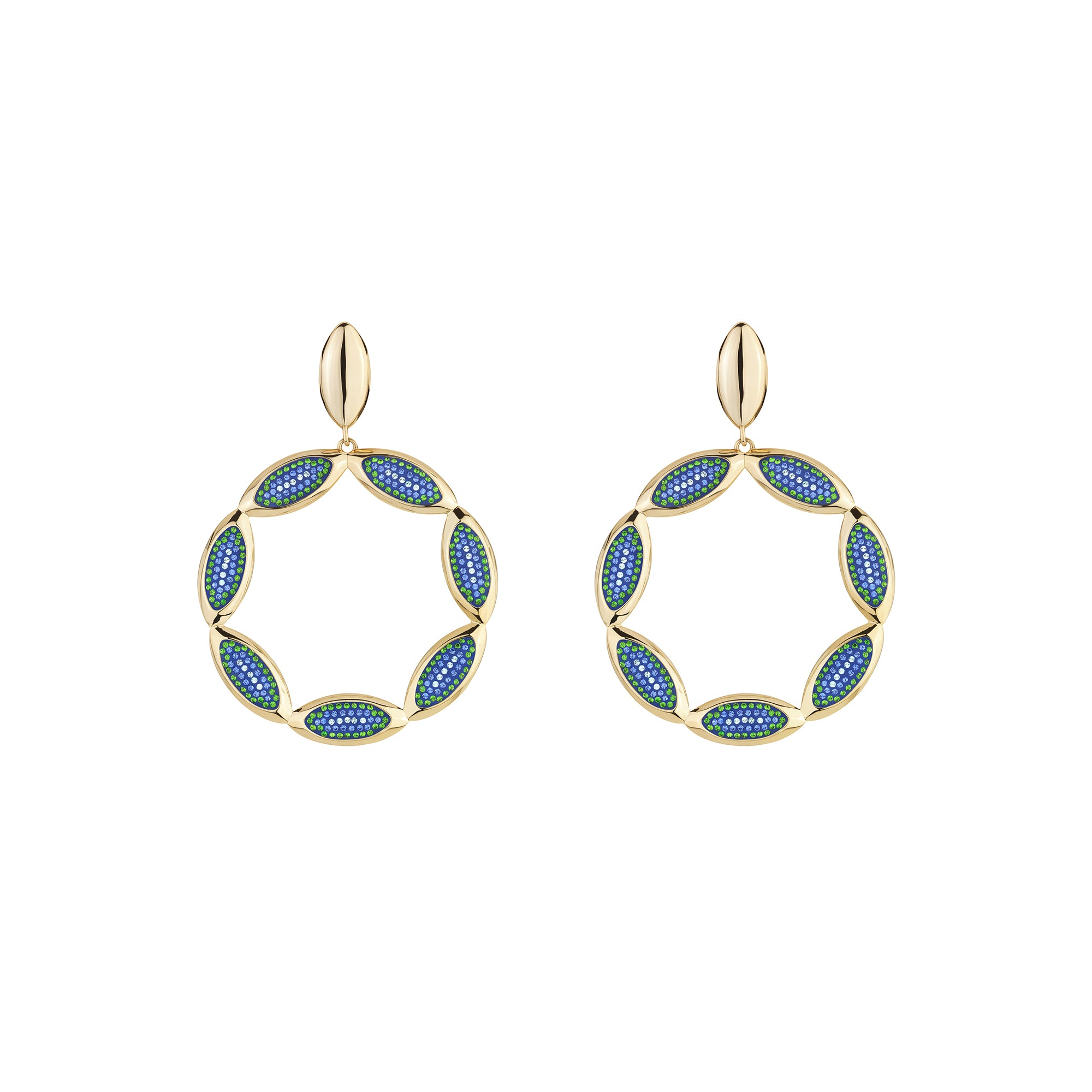 Evil Eye Statement Hoop Earrings, Aquamarine