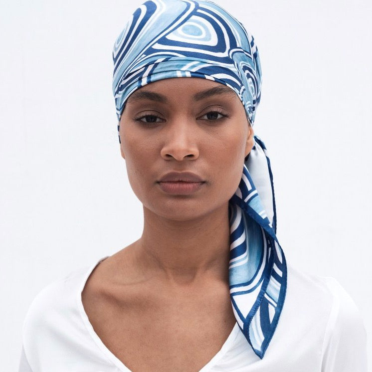 Maze Silk Scarf in Blue