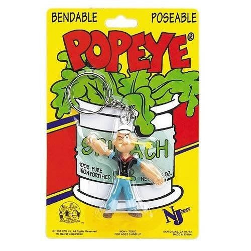 "Popeye 3"" Bendable Figure With Ring Keychain"