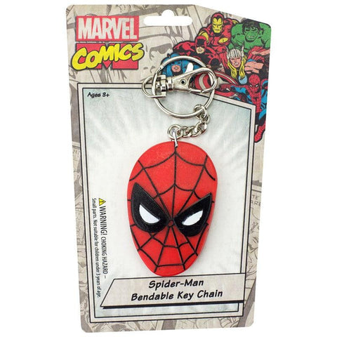 "Spiderman Face 3"" Bendable Toy With Ring Keychain"