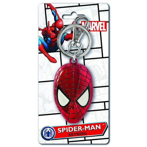 Spiderman Head Colored Pewter Keychain