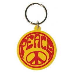 Hippie Peace Symbol Rubber Keychain