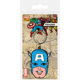 Captain America (Face) Rubber Keychain