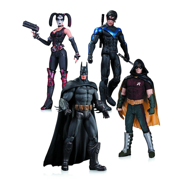 Arkham City Harley Quinn, Batman, Nightwing, and Robin Action Figure 4 Pack