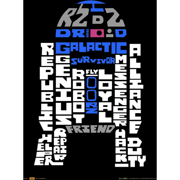 Official Star Wars R2 - D2 Words A3 Poster