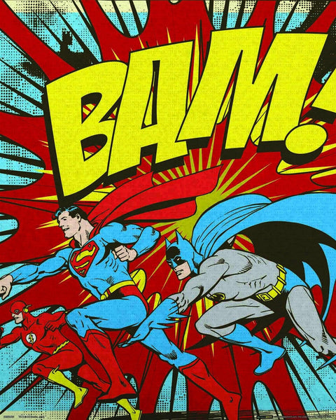 Batman, Superman, Flash Retro Bam! Mini Poster