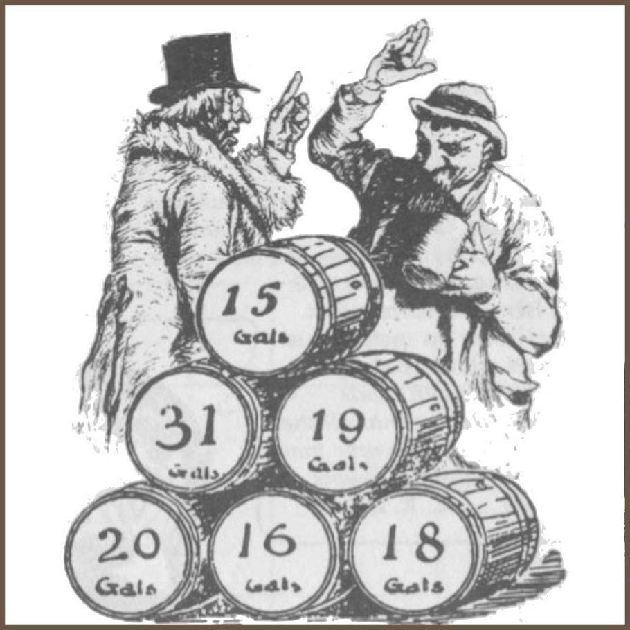 Wine Quiz, the story of Galtem the Guzzler; 5 barrels of Barolo & 1 of Chianti, with the liquid level in gallons on the side.