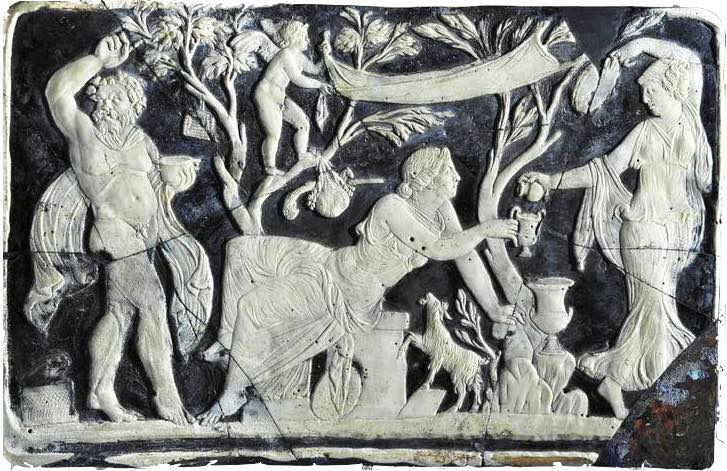 Dionysian find, a balsamarium, a small ceramic of the ancient Sybarites, depicting a Sybarite wine banquet in southern Italy.