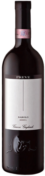 Piemonte red wine style bottle with label stating the 2009 vintage Preve Barolo Riserva by Poderi Gianni Gagliardo, from Piemonte, Italy.