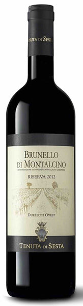 Tuscany red wine style bottle with label stating the 2009 vintage Brunello di Montalcino Riserva 'Duelecci Ovest' by Tenuta di Sesta, from Tuscany, Italy.