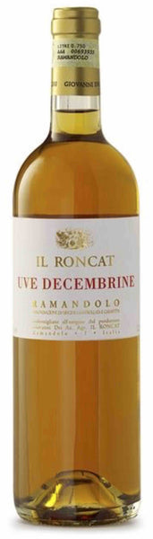 Friuli Venezia Giulia sweet wine style bottle with label stating the 2012 vintage Ramandolo Il Roncat Uve Decembrine by Giovanni Dri, from Friuli Venezia Giulia, Italy.