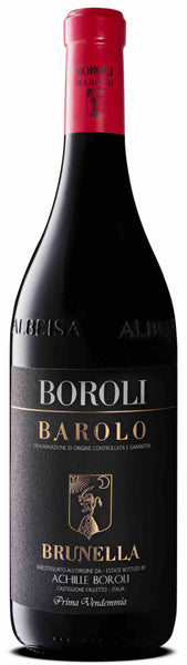 Piedmont red wine style bottle with label stating the 2013 vintage Barolo La Brunella by Boroli, from Piedmont, Italy.
