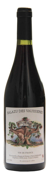 Southern Rhône red wine style bottle with label stating the 2015 vintage Cuvée Bleuet Millefeuille (no sulphites) by Balazu des Vaussières, from Southern Rhône, France.