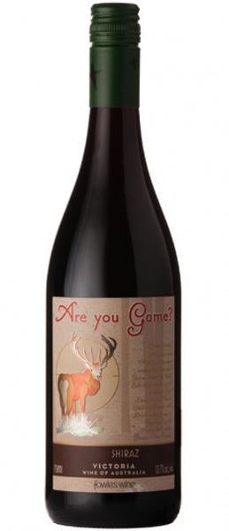 Victoria red wine style bottle with label stating the 2014 vintage Are You Game Shiraz by Fowles Wine, from Victoria, Australia.