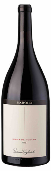 Piemonte red wine style bottle with label stating the 2015 vintage Serra dei Turchi Barolo (Mag) by Poderi Gianni Gagliardo, from Piemonte, Italy.