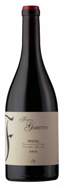 Piedmont red wine style bottle with label stating the 2016 vintage Nizza 'Favà' by Tenuta Garetto, from Piedmont, Italy.