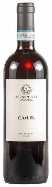 Piedmont red wine style bottle with label stating the 2017 vintage Colli Novaresi 'Carlin' by Boniperti Vignaioli, from Piedmont, Italy.
