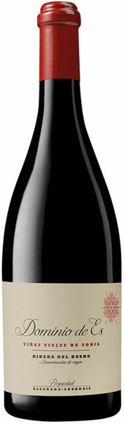 Ribera del Duero red wine style bottle with label stating the 2017 vintage Dominio de Es by Dominio de Es, from Ribera del Duero, Spain.