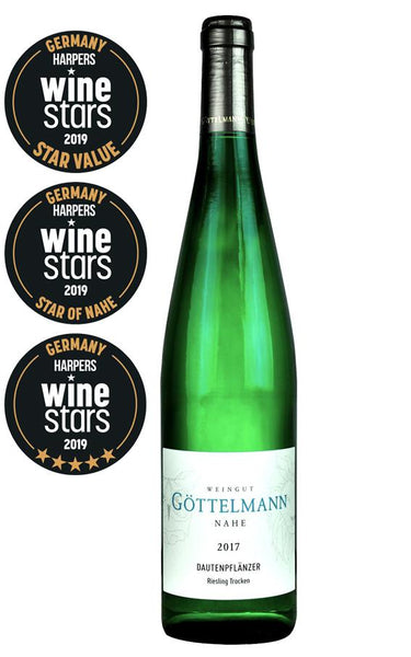 Nahe white wine style bottle with label stating the 2017 vintage Dautenpflänzer Riesling dry by Göttelmann, from Nahe, Germany.